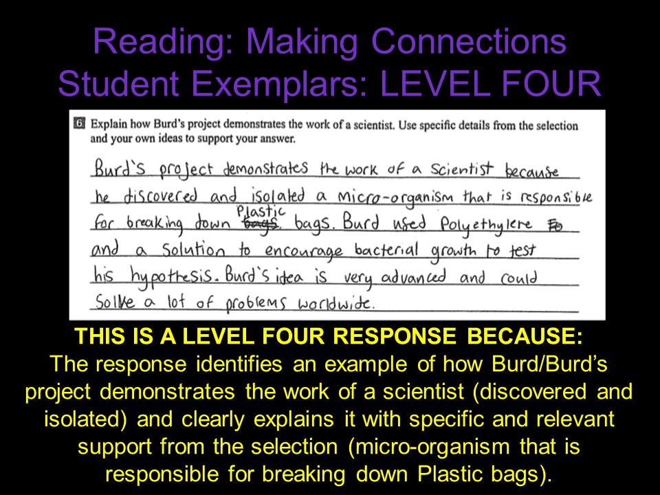Reading: Making Connections Student Exemplars: LEVEL FOUR