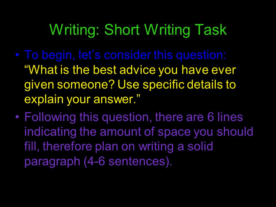 Writing: Short Writing Task
