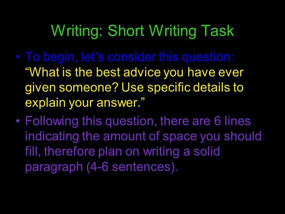 Writing: Short Writing Task