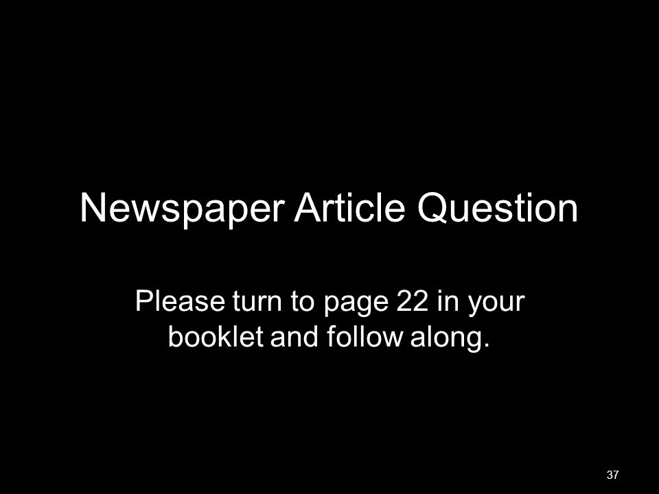 Newspaper Article Question