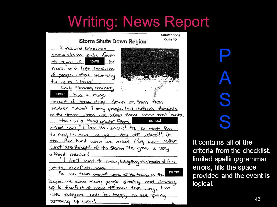 P A S Writing: News Report