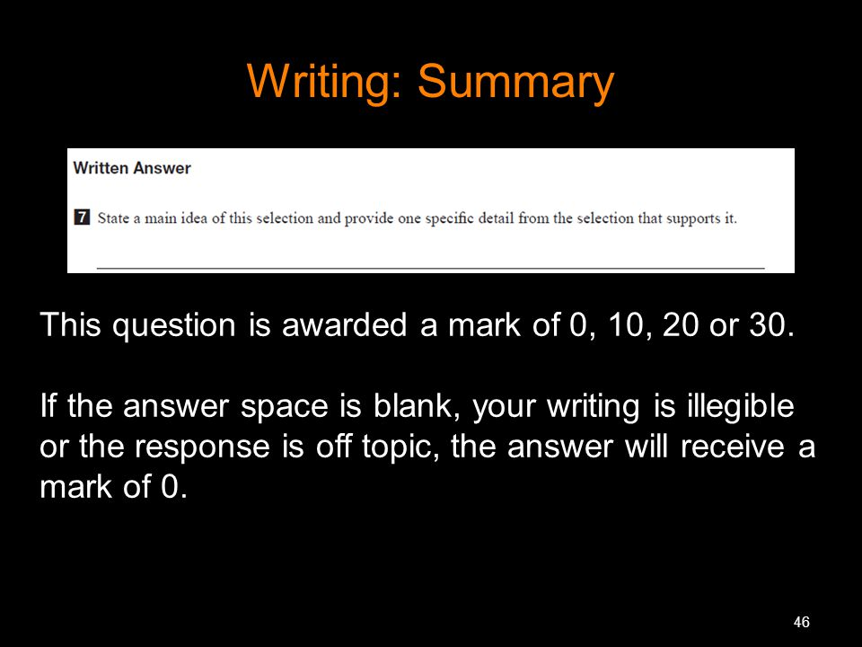 Writing: Summary This question is awarded a mark of 0, 10, 20 or 30.