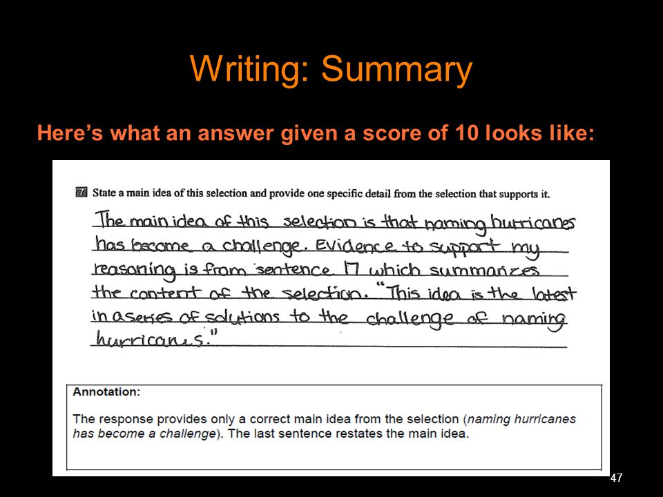 Writing: Summary Here's what an answer given a score of 10 looks like: