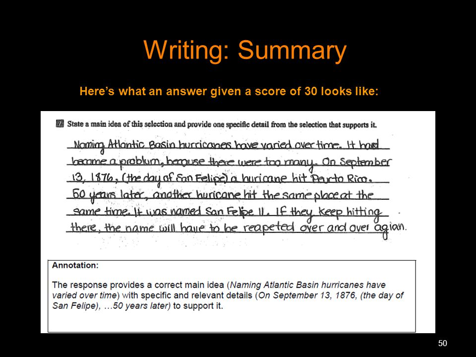 Writing: Summary Here's what an answer given a score of 30 looks like: