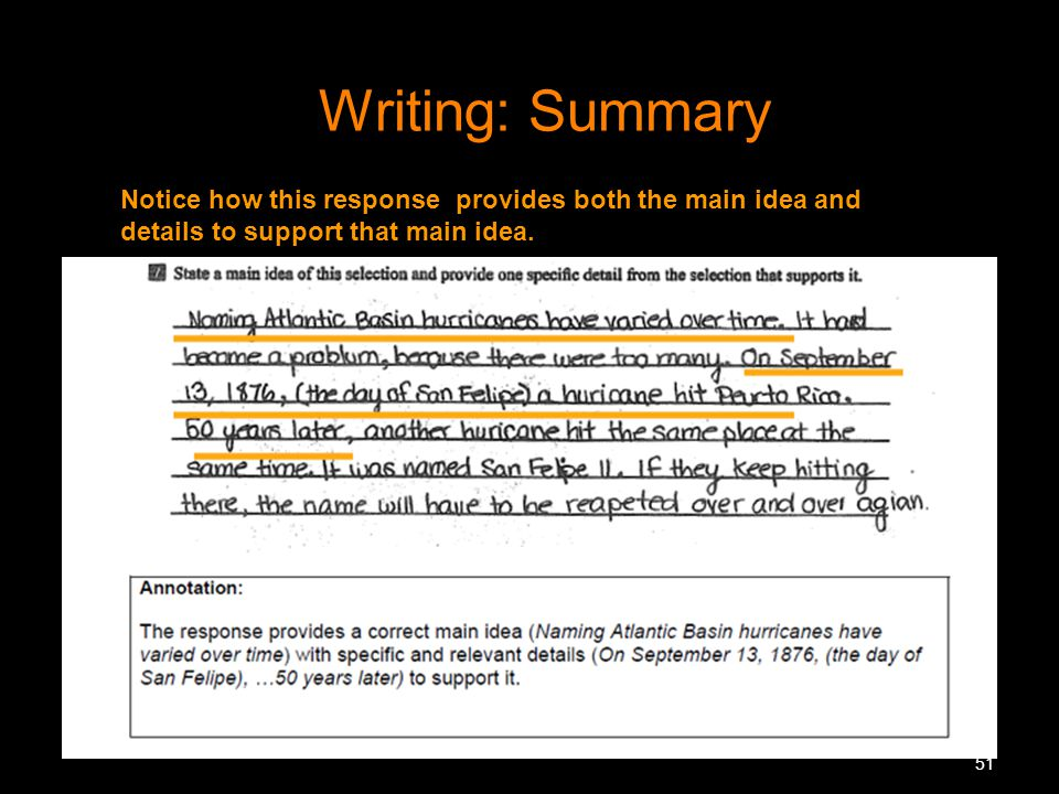 Writing: Summary Notice how this response provides both the main idea and details to support that main idea.