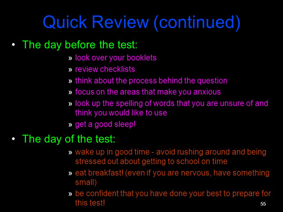 Quick Review (continued)