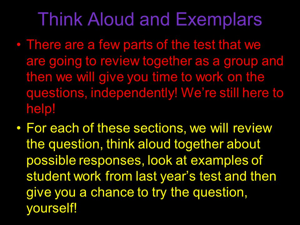 Think Aloud and Exemplars
