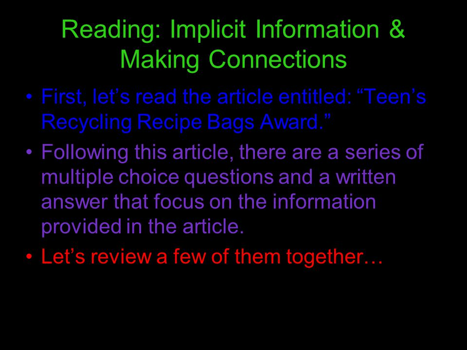 Reading: Implicit Information & Making Connections