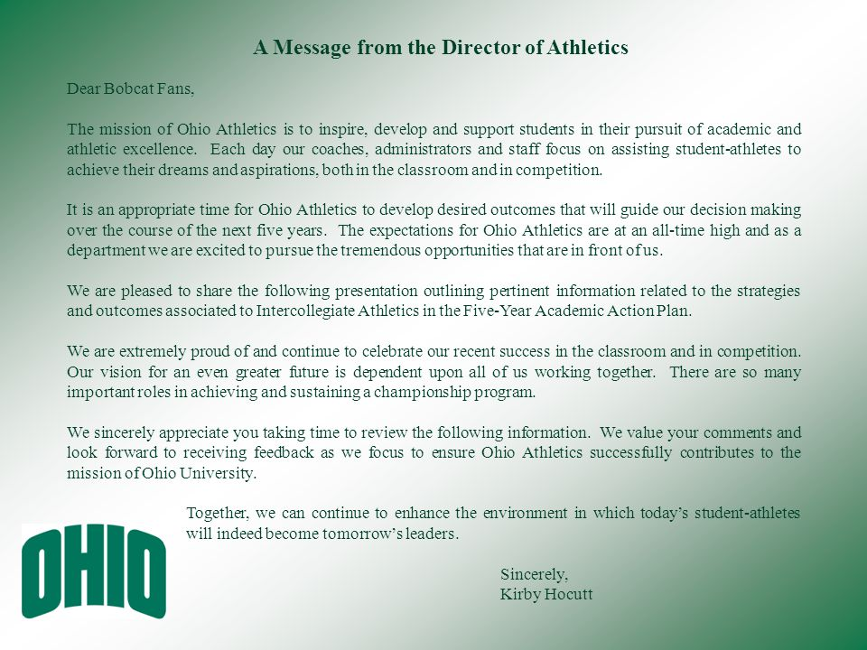 A Message from the Director of Athletics