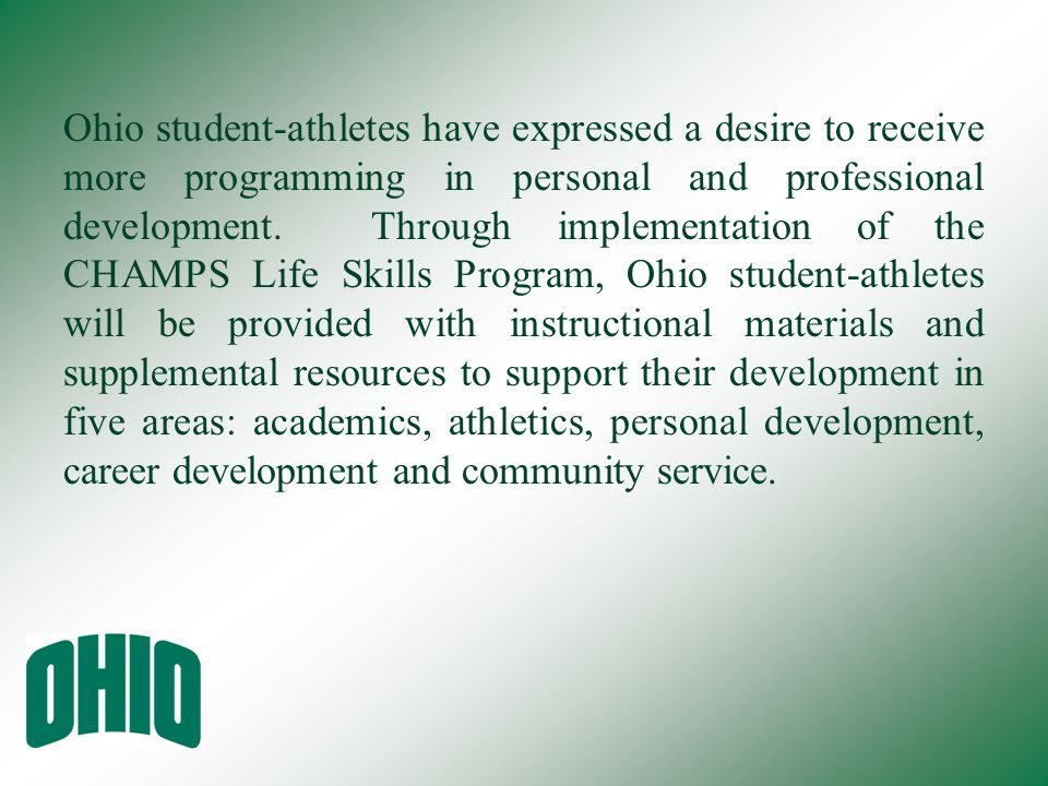 Ohio student-athletes have expressed a desire to receive more programming in personal and professional development.