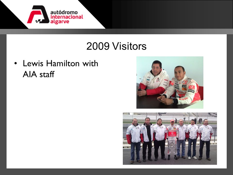 2009 Visitors Lewis Hamilton with AIA staff
