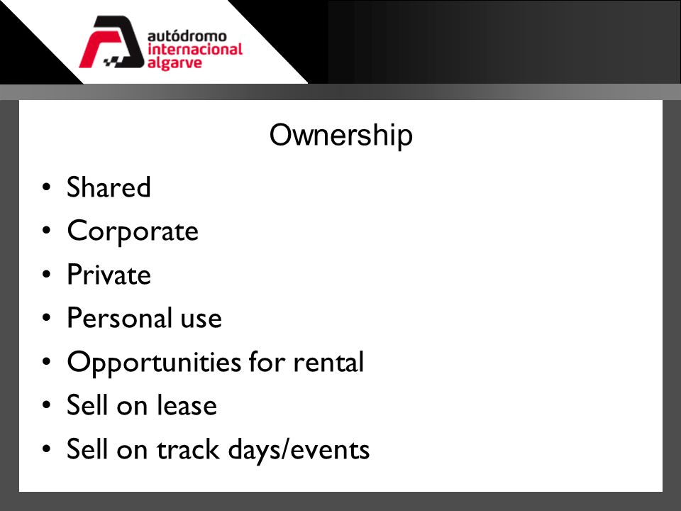 Ownership Shared. Corporate. Private. Personal use.