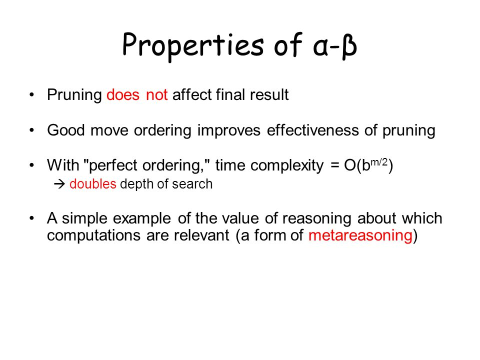 Properties of α-β Pruning does not affect final result