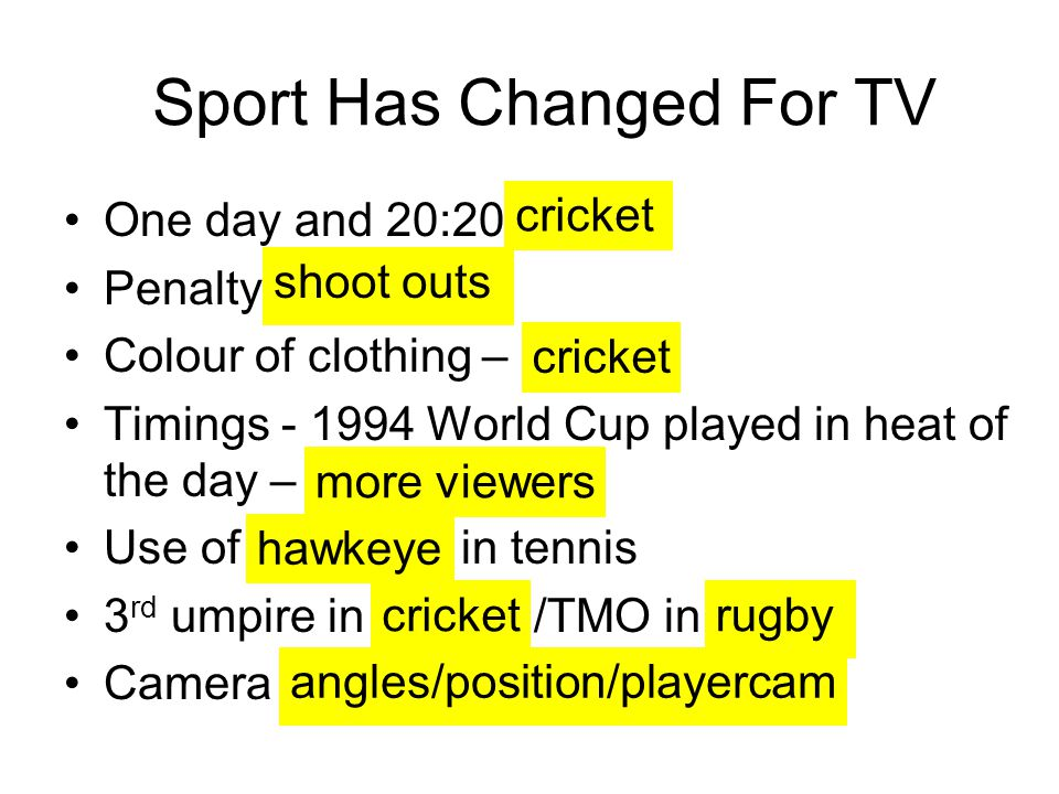 Sport Has Changed For TV