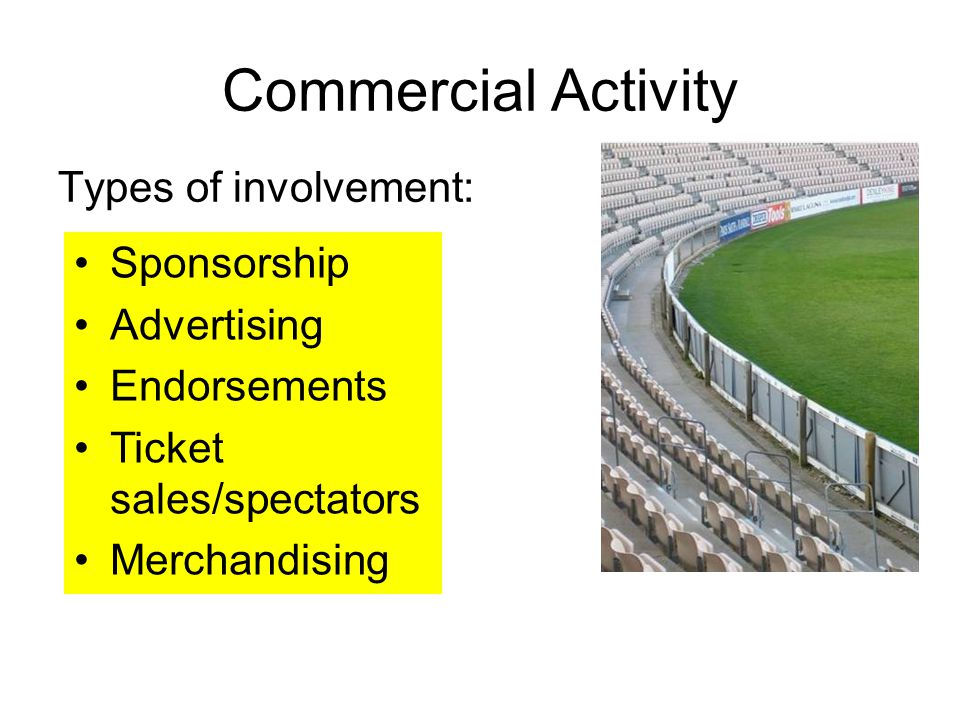 Commercial Activity Types of involvement: Sponsorship Advertising