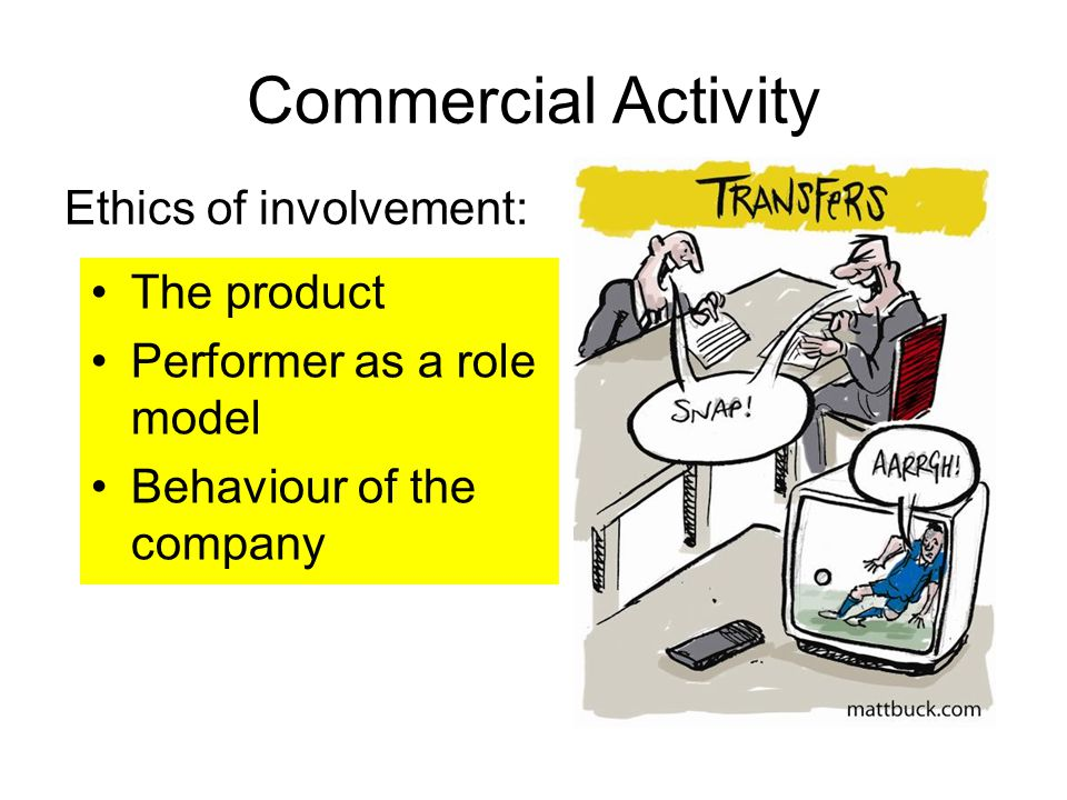 Commercial Activity Ethics of involvement: The product