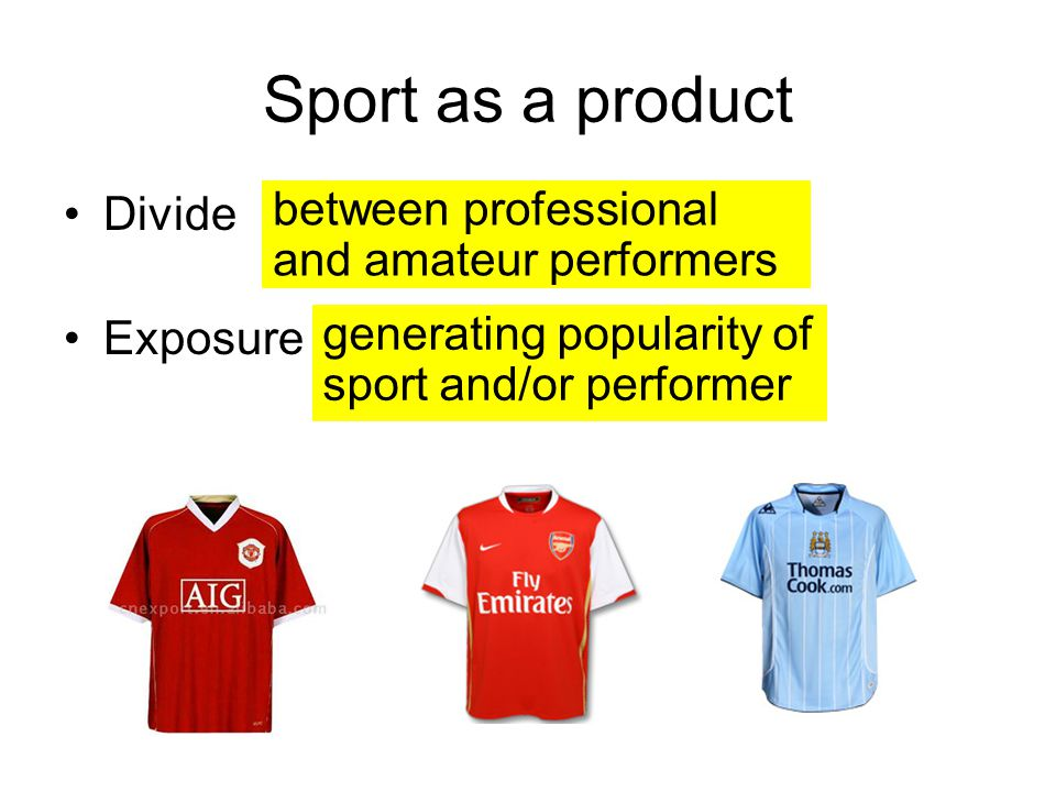 Sport as a product between professional and amateur performers Divide