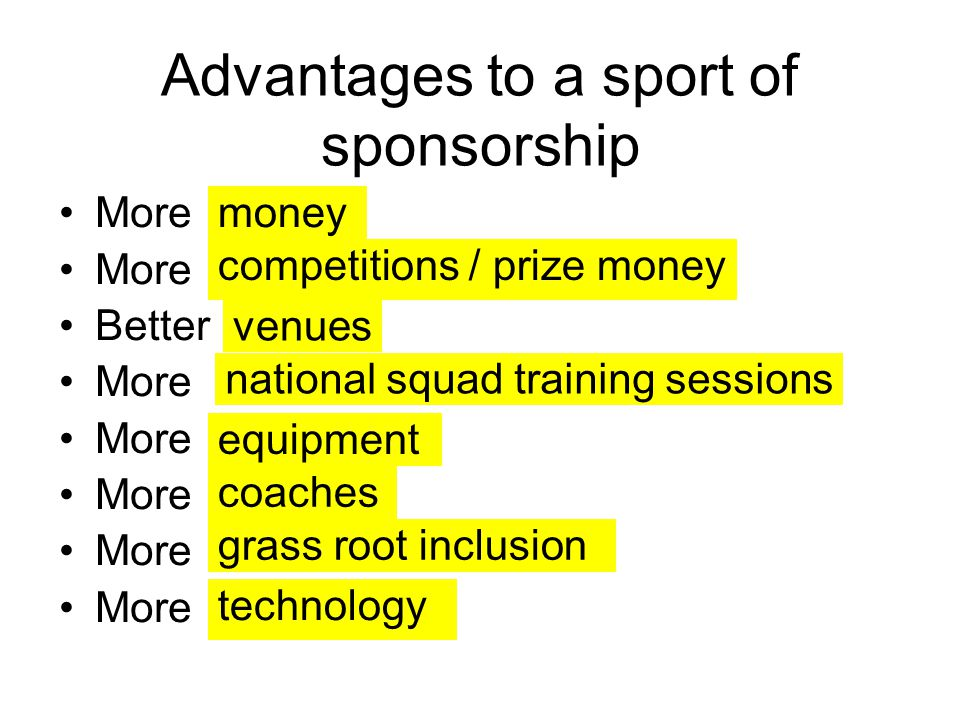 Advantages to a sport of sponsorship