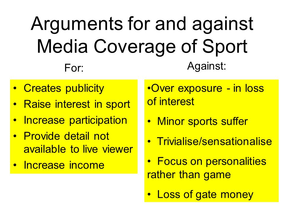 Arguments for and against Media Coverage of Sport