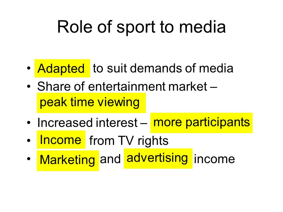 Role of sport to media to suit demands of media Adapted