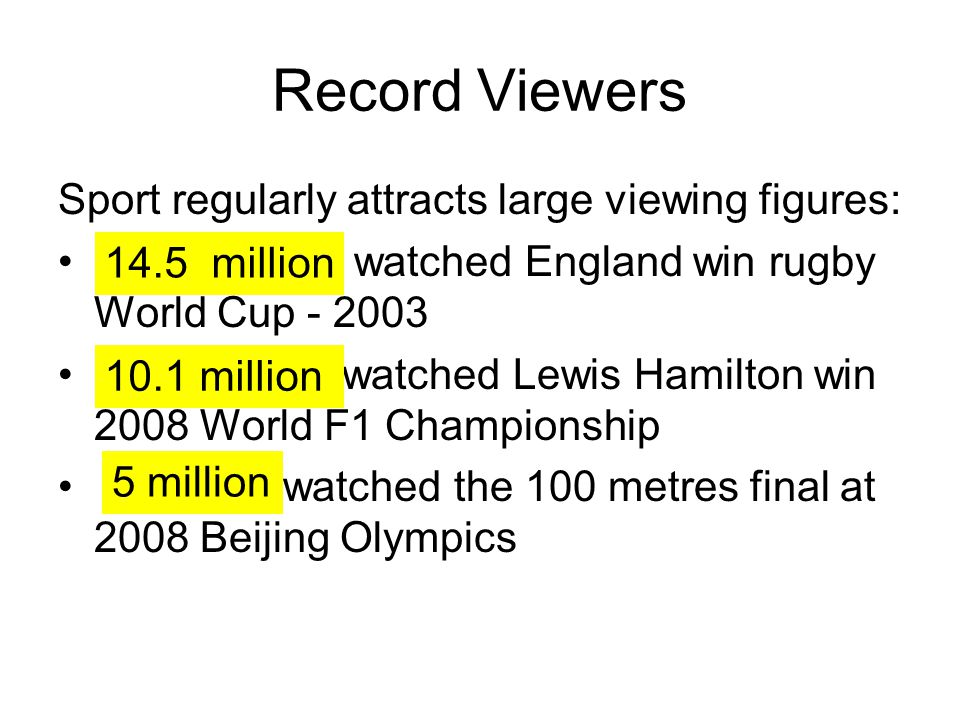 Record Viewers Sport regularly attracts large viewing figures: