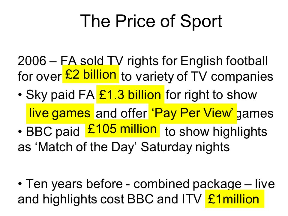 The Price of Sport 2006 – FA sold TV rights for English football for over to variety of TV companies.