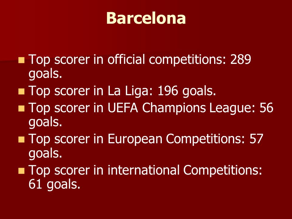 Barcelona Top scorer in official competitions: 289 goals.