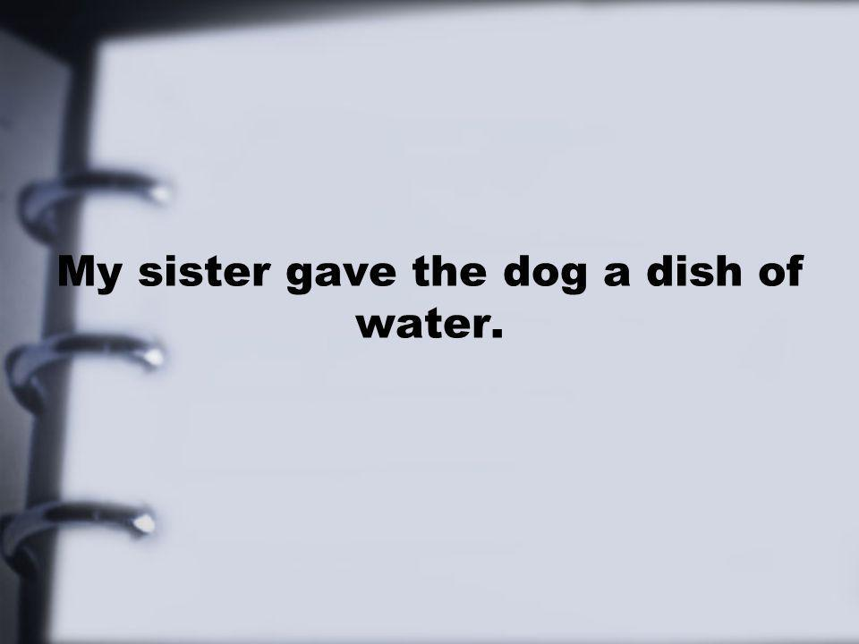 My sister gave the dog a dish of water.