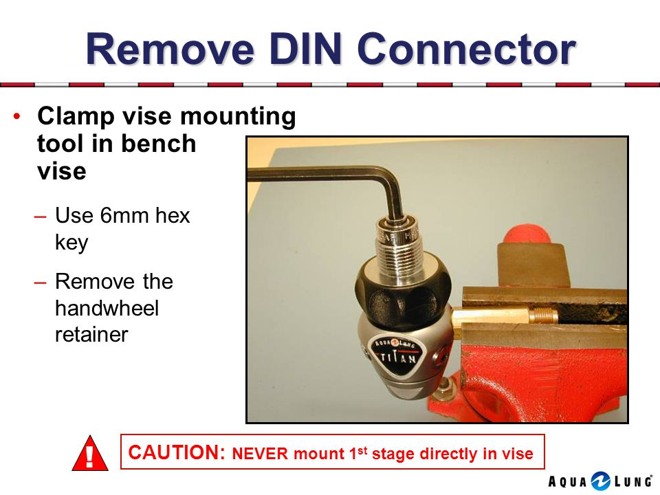 Remove DIN Connector ! Clamp vise mounting tool in bench vise