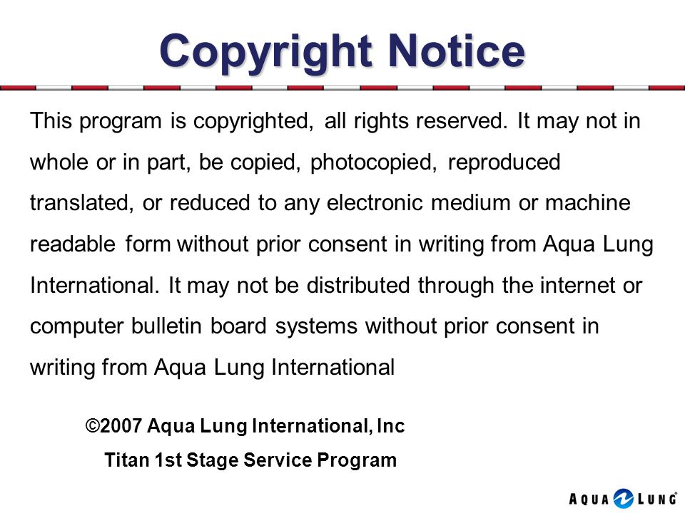 Copyright Notice This program is copyrighted, all rights reserved. It may not in. whole or in part, be copied, photocopied, reproduced.