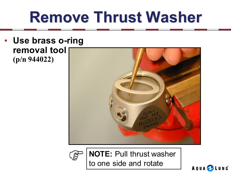 Remove Thrust Washer Use brass o-ring removal tool (p/n 944022)