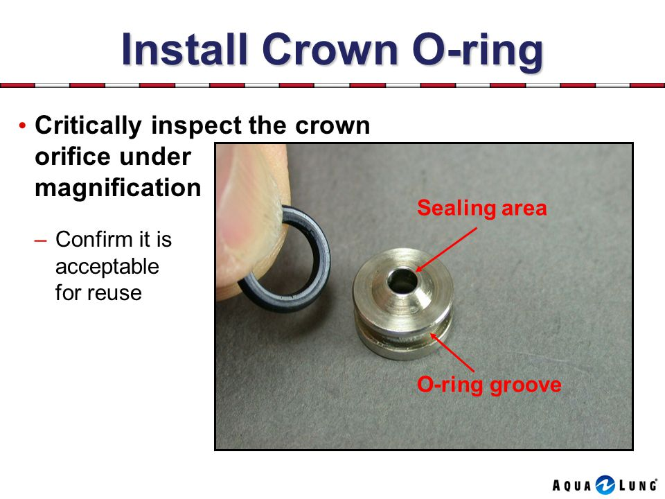 Install Crown O-ring Critically inspect the crown orifice under magnification. Sealing area. Confirm it is acceptable for reuse.