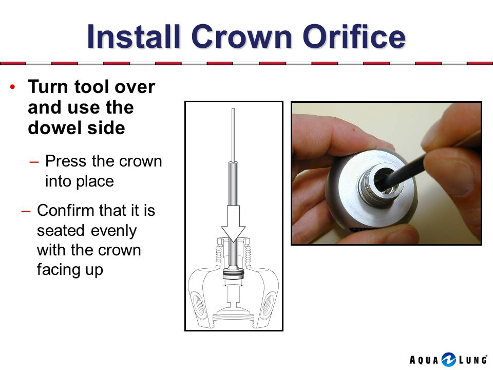 Install Crown Orifice Turn tool over and use the dowel side