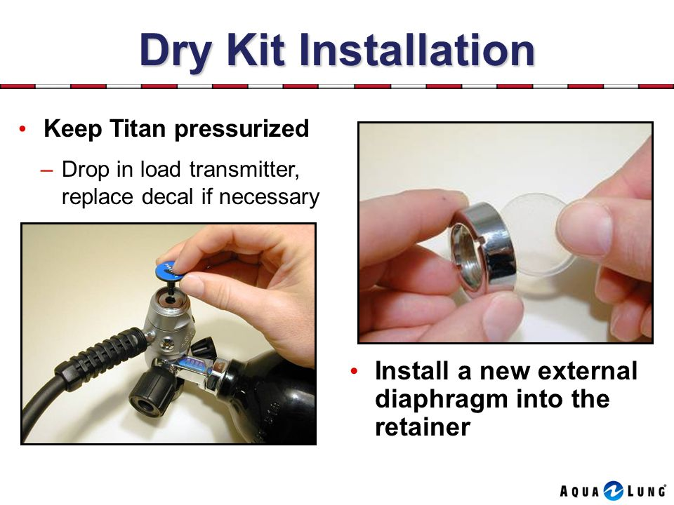 Dry Kit Installation Keep Titan pressurized. Drop in load transmitter, replace decal if necessary.