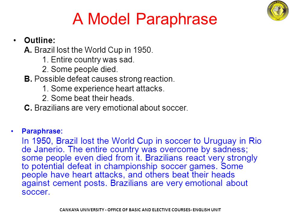 A Model Paraphrase Outline: A. Brazil lost the World Cup in 1950. 1. Entire country was sad. 2. Some people died.