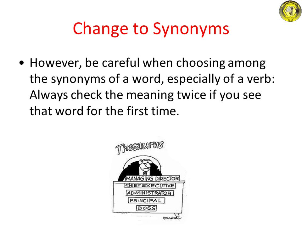 Change to Synonyms