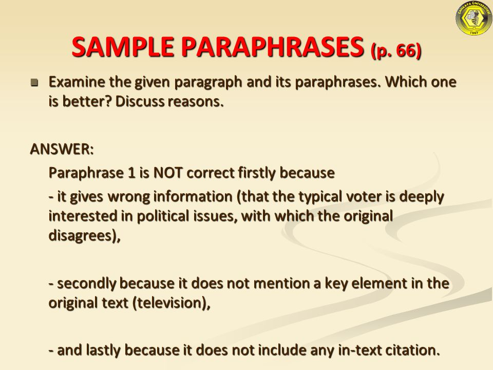 SAMPLE PARAPHRASES (p. 66)