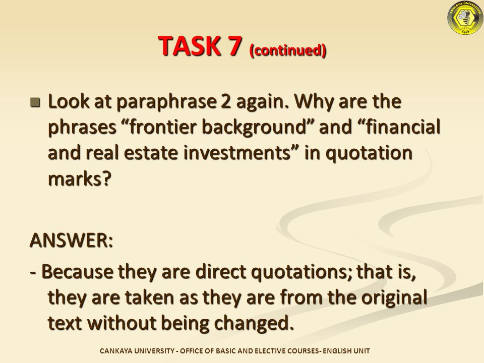 TASK 7 (continued)