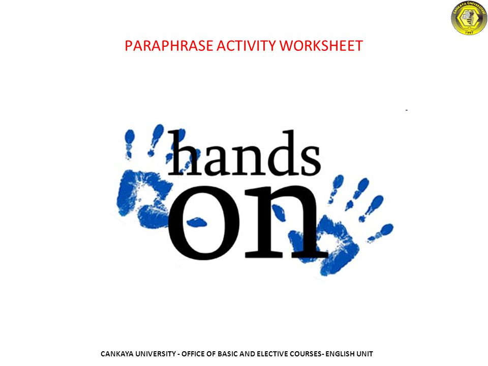 PARAPHRASE ACTIVITY WORKSHEET
