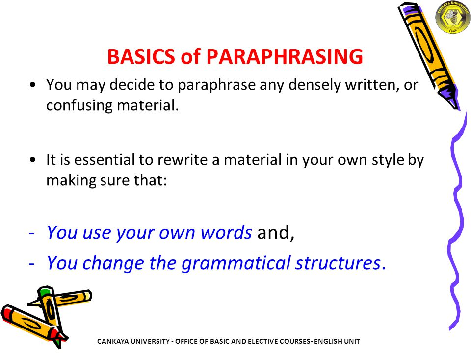 BASICS of PARAPHRASING