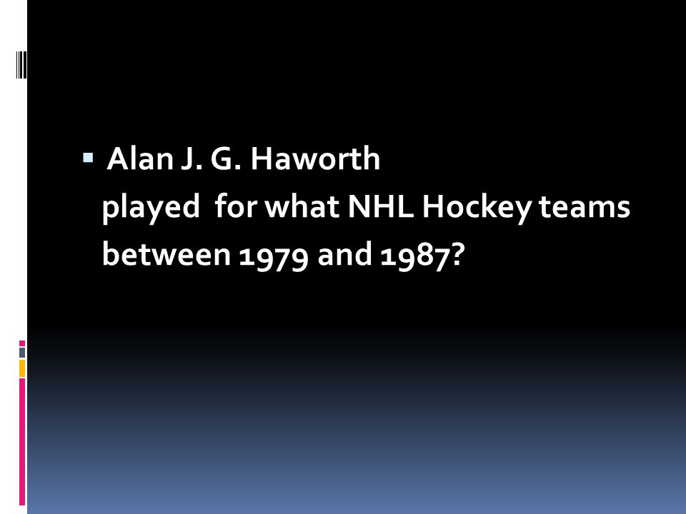 Alan J. G. Haworth played for what NHL Hockey teams between 1979 and 1987