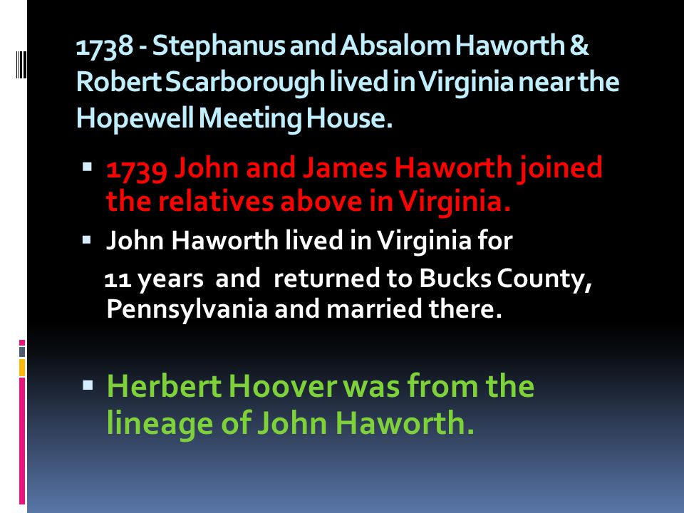 Herbert Hoover was from the lineage of John Haworth.
