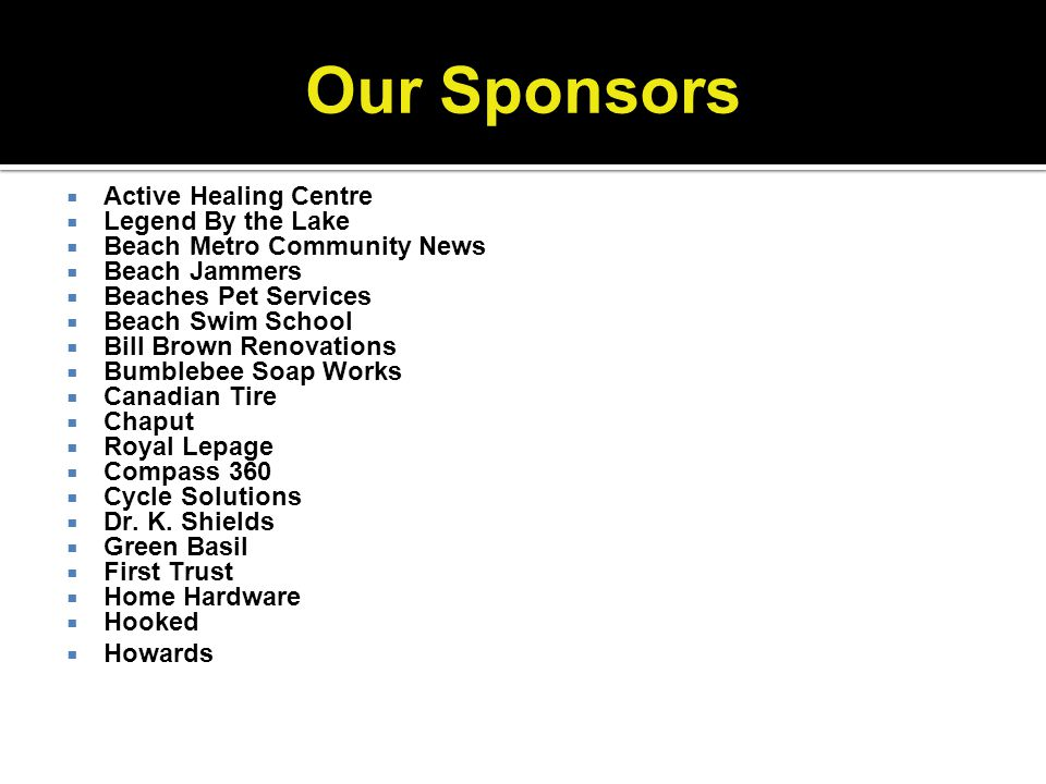 Our Sponsors Active Healing Centre Legend By the Lake