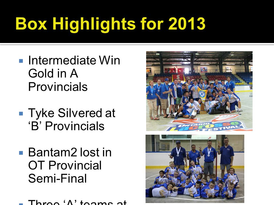 Box Highlights for 2013 Intermediate Win Gold in A Provincials
