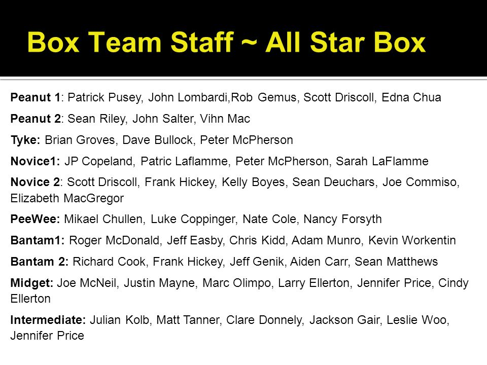 Box Team Staff ~ All Star Box