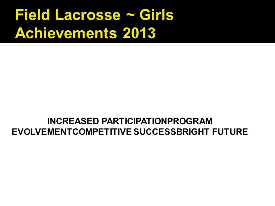 Field Lacrosse ~ Girls Achievements 2013
