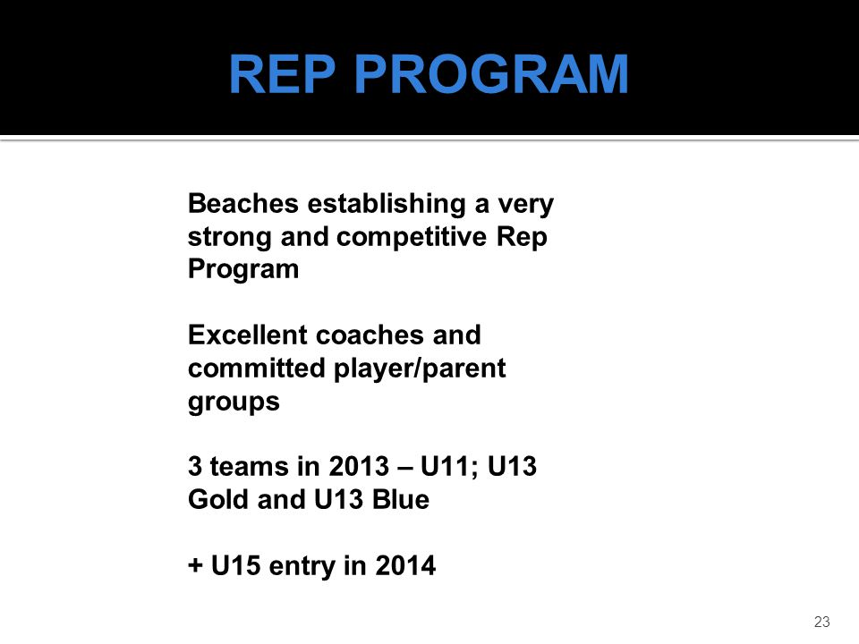 REP PROGRAM Beaches establishing a very strong and competitive Rep Program. Excellent coaches and committed player/parent groups.