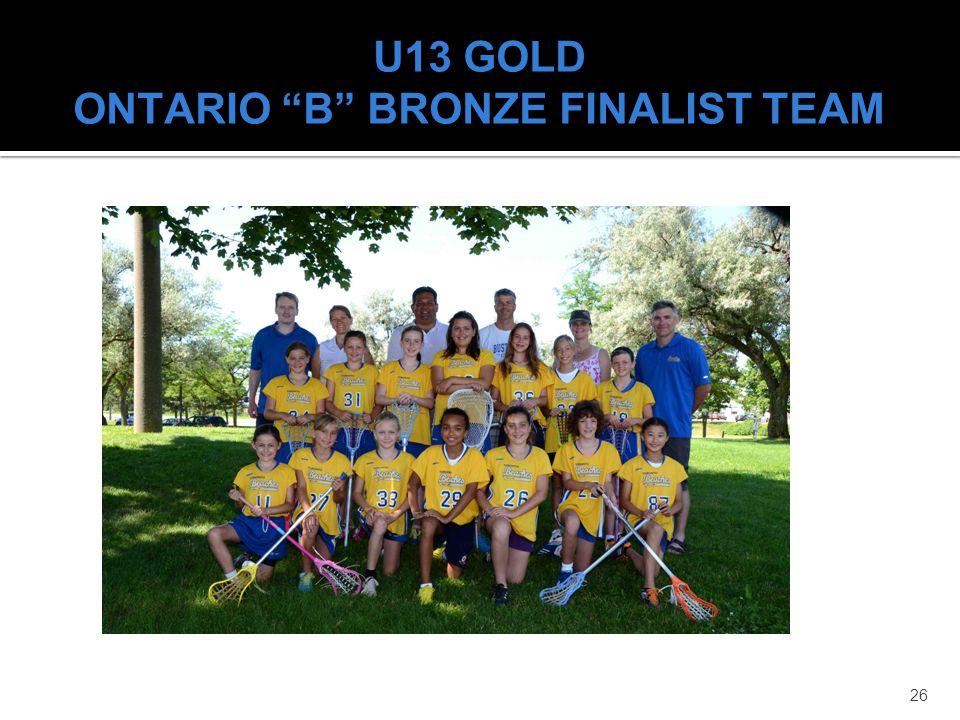 U13 GOLD ONTARIO B BRONZE FINALIST TEAM
