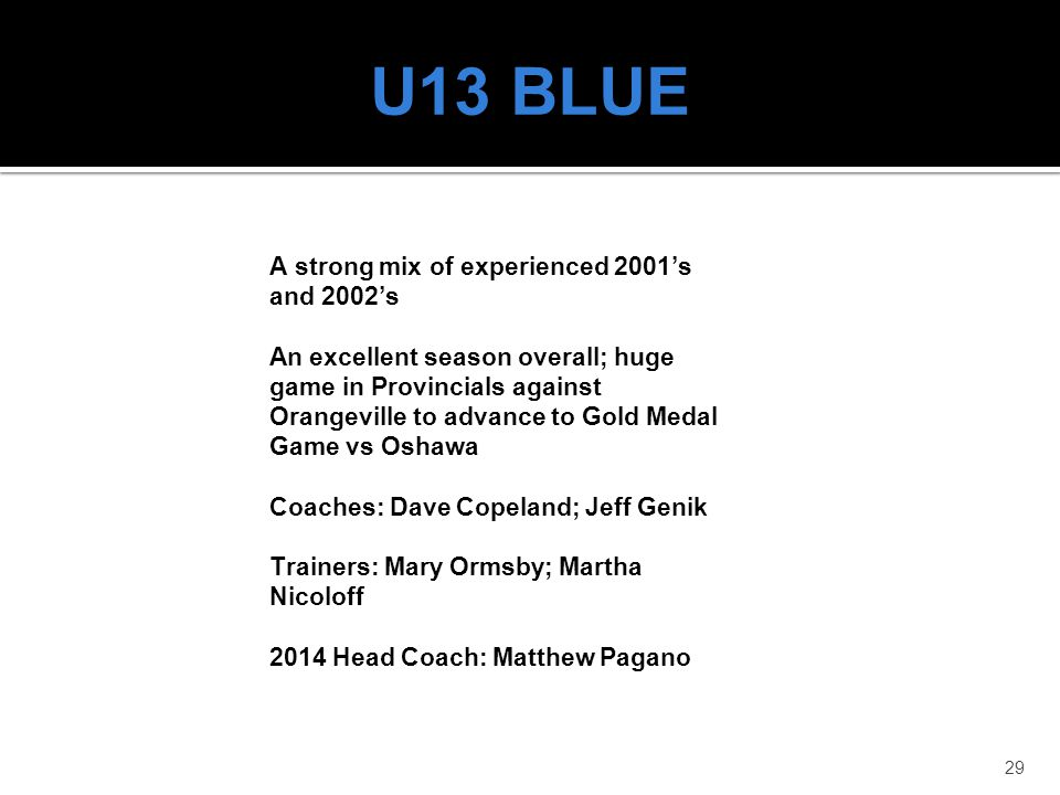 U13 BLUE A strong mix of experienced 2001's and 2002's