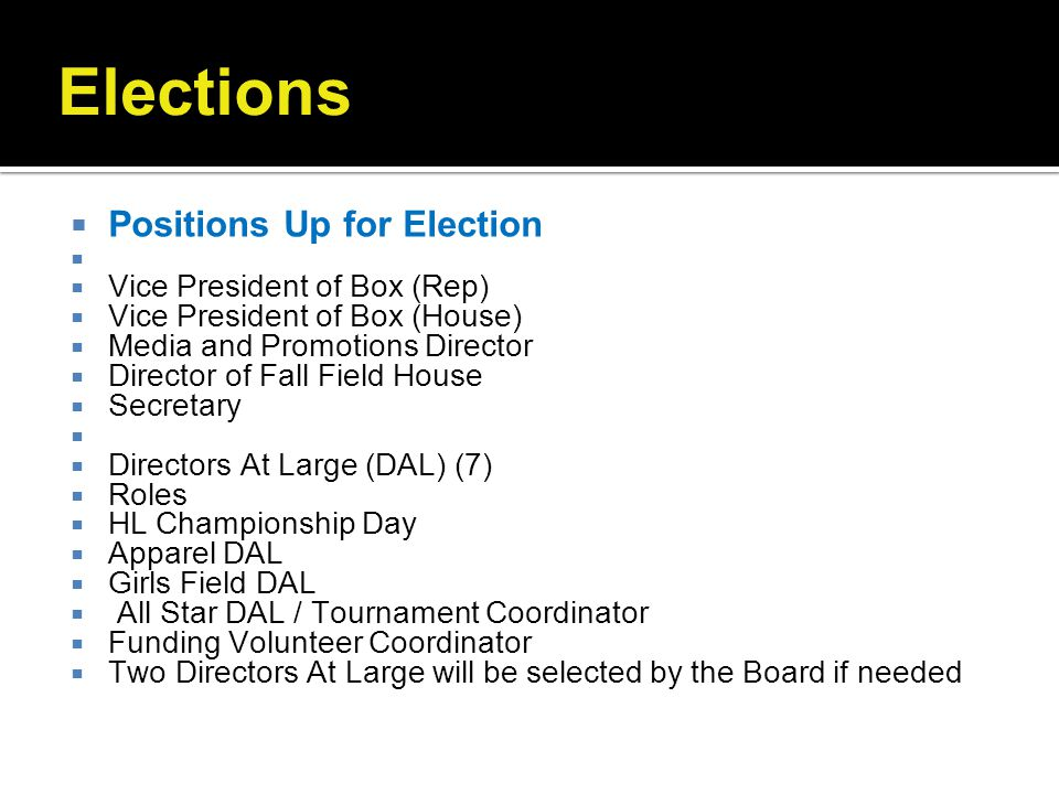 Elections Positions Up for Election Vice President of Box (Rep)